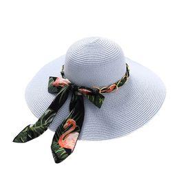 Adisputent 2019 Summer Female Sun Hat Wide Bow Ribbon Panama Beach Hats for  Women Girl Chapeu Feminino Sombrero Floppy Straw Hat a9655f3962c9