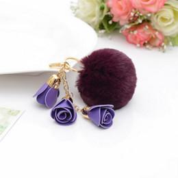 $enCountryForm.capitalKeyWord NZ - New charm fashion leather rose flower key chain with fur plush ball key chain women keychain girls bag pendant jewelry