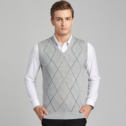 54966b34e08c9 2017 autumn and winter new men s knit vest cashmere sleeveless plaid high  quality men sweater and pullovers