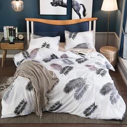 Bedding Set White Green NZ - Green leaves White bedding set,Home Textile King size bed set,bedclothes,duvet cover pillowcases (No Sheet No Filling) SJ288