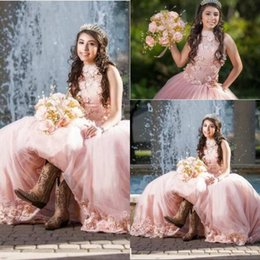 sweet 16 birthday dresses Canada - Most Popular Long Ball Gown Quinceanera Dresses High Collar 3D Flowers Sweet 16 Years For 15 Year Birthday Party Gowns Vestido De 15 Anos