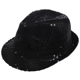 Discount men dress hats - Sequin Trilby Hat Top Hat Fancy Dress Party Hen Stag Night Dance Theatre Shows, Black