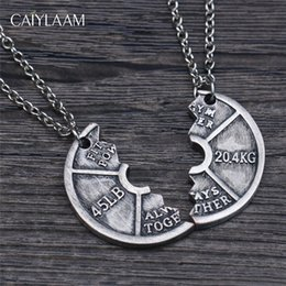 $enCountryForm.capitalKeyWord Canada - CAIYLAAM Punk Style Dumbbell Piece Pendant Necklaces for Male Vintage Silver Color Couple Necklaces Gym Jewelry Power Symbol