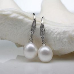$enCountryForm.capitalKeyWord NZ - Free shipping HOT PERFECT SOUTH SEA GENUINE 10-12MM WHITE LOOSE PEARL EARRING