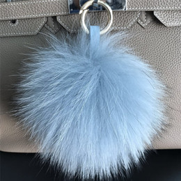 "$enCountryForm.capitalKeyWord Australia - 6"" Light Blue Hot Sale Real Genuine Raccoon Fur Pom Pom Ball Bag charm Car phone Keyring pendent"