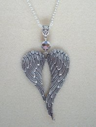 $enCountryForm.capitalKeyWord Australia - Large Guardian Angel Wings Necklace Pendants Glass Bead Vintage Silver Charms Choker Collar Statement Necklaces Feather For Women Jewelry