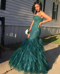 $enCountryForm.capitalKeyWord Australia - Hunter Green Mermaid Prom Dresses 2018 Strapless Sparkly Lace Sequins Tulle Evening Dresses Floor Length Black Girl Wear Formal Party Gowns