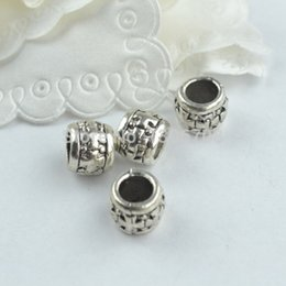 $enCountryForm.capitalKeyWord NZ - ashion Jewelry Beads 50pcs Metal antique tibetan silver charms flower cross pattern carved big hole round beads fit diy for europe bracel...