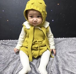 Hand Knit Hats For Girls Australia - 2019 Autumn New Arrival cotton pure color korean Knitted Wool Hand-made Climbing pp bodysuit with hat for cute sweet baby girls