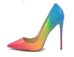 Venta al por mayor de 2019 mujeres libres de la manera del envío atractivo de la boda de la señora del arco iris de cuero del dedo del pie puntiagudo zapatos de tacones de tacón alto tacones de aguja 12 cm 10 cm