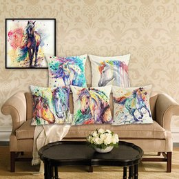 Green Office Chairs Australia - 45cm Horse Animal Pattern Cotton Linen Fabric Throw Pillow 18inch Fashion Hotal Office Bedroom Decorate Sofa Chair Cushion