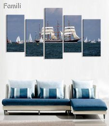 $enCountryForm.capitalKeyWord NZ - 5pcs Sail Boat Canvas Arts Wall Pictures For Living Room Modern Poster and Printed Wall Canvas Art Home Decor Unframed