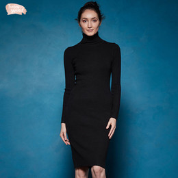basic solid dresses NZ - Winter Basic Turtleneck Sweater Dress Solid Women Bodycon Sexy Party Dress Elegant Vestidos For Female Wyq 7628