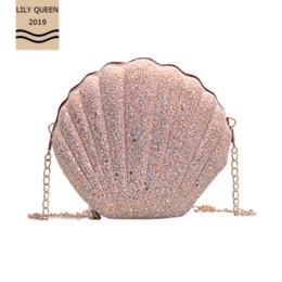 Red shining handbag online shopping - LILY QUEEN Shell shape cute wallet chain shining messenger handbag shoulder girls crossbody bags for women