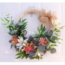 $enCountryForm.capitalKeyWord Australia - Artificial Plant Rattan Flowers Wreath Door Hanging Simulation Flower Garland Decor Wall Window Home Door Lintel Wreath