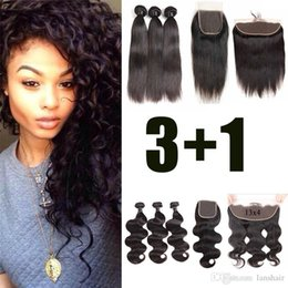 34 inches hair Australia - Brazilian indian Virgin Straight Body Wave 3 Bundles With Closure Bundles With Lace Front Closure Loose Deep Wave Remy Human Hair Weaves