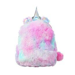 Discount children plain backpacks - INS Kids unicorn Backpacks Cartoon animals plush kindergarten baby girls boys School Bags children Shoulders bags 2 colo