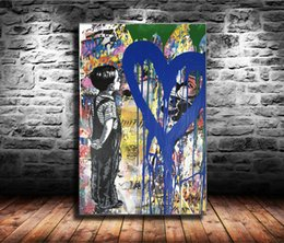 Love Framed Print Australia - 1 Pieces Canvas Prints Wall Art Oil Painting Home Decor Mr. Brainwash With All My Love (Unframed Framed) 24x36.