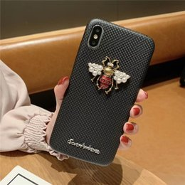 phone case white pearls Canada - Luxury PVC 3D Bee Pearl Phone Cases Bling Rhinestone Famous Designer Cover Crystal Diamond Shell for iPhone 7 8PLUS XR X MAX