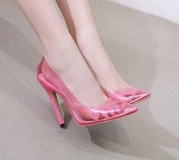 24c99c2105d Clear PVC Transparent Pumps Perspex Heel Stilettos High Heels Point Toes  Womens Party Shoes Nightclub Pump Basic Pink