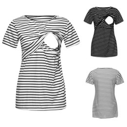 nursing tops maternity clothes UK - Women Maternity Mom Tops Nursing Striped Short T-shirt Pregnancy Clothes Breastfeeding Tops Ropa Maternidad Maternity Clothes