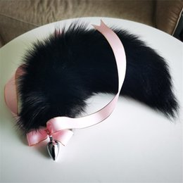 "fur plug NZ - 40cm 16"" Real Genuine Fox Fur Tail Plug W Silk Metal Stainless Butt Anal Plug Sexy Tools"