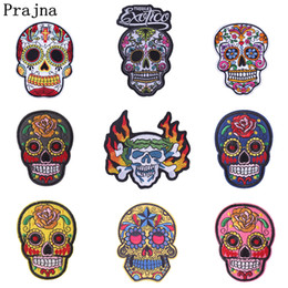 $enCountryForm.capitalKeyWord Australia - Prajna Punk Fire Skull Embroidery Biker Iron on Patches For Clothing Jeans Apparel Fabric Motorcycle Applique DIY Stickers E