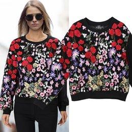 European Style Women T Shirt Australia - New 2019 European Fashion Women Colorful Floral Embroidery Tee Top Long Sleeve T-shirt Female Stylish Oversize Tshirt Style F361