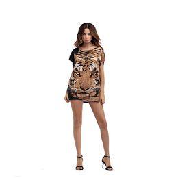 $enCountryForm.capitalKeyWord Australia - Leopard Long Print Womens Designer Tshirts Scoop Neck Tiger Loose Sexy Ladies Tops Fashion Womens Party Tees