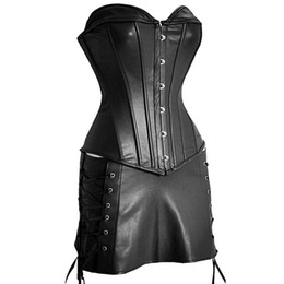 138e196854 Women Faux Leather Bustier Corset Dress Underwear Black Steampunk Shapewear  Gothic Sexy Corselet Strapless Lace Up Body Corsets
