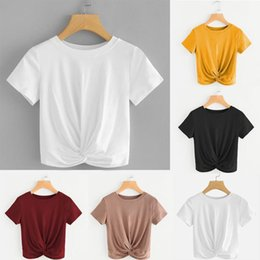 wholesale loose crop tops Canada - basic t shirt Women Casual loose Solid O Neck Short Sleeve Twist Front Crop Tee daily school office Tops poleras mujer #25