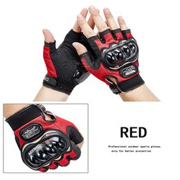 Red Leather Half Gloves Australia - Motorcycle Half-finger Gloves Fox Airline Cycling Gloves Dirtpaw Racing Motocross For BMX ATV MTB MX Glove Bicycle Motorbike Free shipping