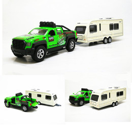 pull back mini cars UK - High simulation Pickup truck rv 1:36 scale alloy pull back Trailer yacht cars musical flashing collection model free shipping T200110