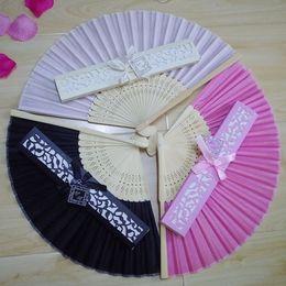 $enCountryForm.capitalKeyWord NZ - Wedding Favors Gift Silk Bamboo Hand Folding Fans Bridal Party Souvenir with Laser Cut Boxes Packing Custom Logos DHL Free Shipping