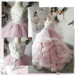 Wedding Vest Pink Australia - Pink Beaded Lace Flower Girl Dresses Ball Gown Tiers Tulle Little Girl Wedding Dresses Cheap Child Pageant Birthday Gowns