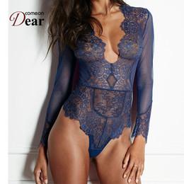 plus size bodysuit clubwear 2019 - Comeondear Women Ladies Clubwear V neck Playsuit Bodycon Bodysuit Long Lace Sleeve Plus Size Transparent Lace Bodysuit R