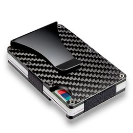 carbon card holder UK - 2019 New Men Card Holder Slim Carbon Fiber Credit Card Holder Metal Wallet Anti Scan Function Hold Card Coins Cash