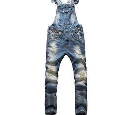 d4d4dee75b Estilo Americano europeo Moda Hombre Hip Hop Monos Pantalones Monos Pantalones  Vaqueros Ripped Plus Size Denim Mono 825