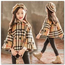 Wholesale Girls plaid woolen shawl cloaks kids lapel double pocket princess capes outwear+hat 2pcs sets children long sleeve lattice poncho P0039