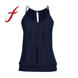 $enCountryForm.capitalKeyWord UK - Feitong Summer Women Sexy Halter Loose Wrinkled O Neck Cami Tank Tops Vest Blouse Camisole Regata Feminina 2019 New C19041601