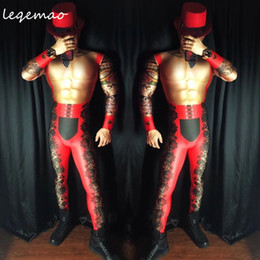 $enCountryForm.capitalKeyWord Australia - Nightclub Male Dj Singer Party Costume Sexy Men Set Bar Dancer Pole Dancing Performance Stage Wear Red Black Mesh Printed Stretch Leotard Ju