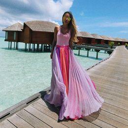 $enCountryForm.capitalKeyWord Australia - Suit-dress 2019 Violet White Pink Colour Split Joint Half-body Skirt Long Skirt Chiffon