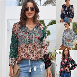 Wholesale plus size chiffon sleeve blouse design online – New Spring Autumn Loose Plus Size Long sleeve wild chiffon top for Women Lady Long Sleeve Blouse Casual Tops V neck Design