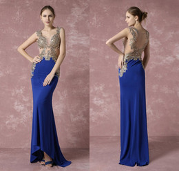 Pink Clothing Women UK - Gold Beaded A Line Prom Dresses Royal Blue Open Back Girls Pageant Gowns Floor Length Women Formal Party Clothing