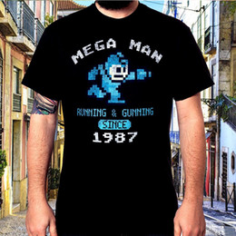 men t shirt gun Australia - Men T shirt Hip Hop s Mega Man Running and Gunning Fashion T Shirt funny t-shirt novelty tshirt women