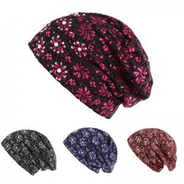 Pile caP online shopping - Woman Lace drill Flower Hat Fashion Maternity warm pile cap Knitted Lady Elastic Cute Head Wrap Solid Hat LJJT275