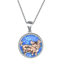 Rose Gold Filled Pendant Australia - New fashion woman blue opal rose gold pig necklace uniqe animal wedding jewelry 925 sterling silver filled necklaces pendants gift