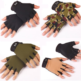 fingerless golf gloves Australia - Whole Sale Summer Outdoor Sports Tactical Gloves Half Finger Cycling Gym Anti-slip Gloves Camouflage Fingerless Sun-proof Breathable Gloves