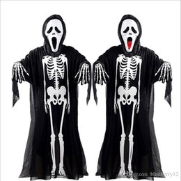 Skeleton Clothes Australia - Nice Pop Pop Halloween Cosplay Skeleton Unisex Suit Human Skeleton Pattern Costume Halloween Scare Performance Clothes Wear Mask Suit Adults