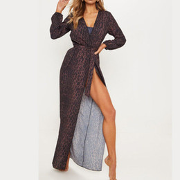 Discount wrapped up dress - Women Bikini Cover Up 2019 Leopard Swimwear Wrap Maxi Skirt Sarong Kimono Kaftan Long Maxi Dress Biquini New